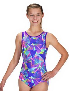 You won't believe how soft the cute Geometry Leotard's neon fabric is- perfect for picky kids! Girls Gymnastics Leotards, Gymnastics Outfits, Gymnastics Things, Gymnastics Leos, Girly Girl Outfits, Cute Casual Outfits, Girls Cuts, Preteen Fashion, Dance It Out