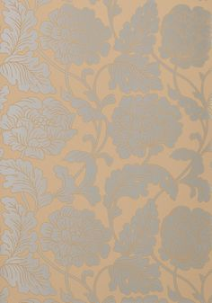 With a hint of art nouveau style, Hathaway's large and blooming floral pattern is beautifully accented with metallic upon a variety of neutral-colored matte backgrounds. Featured here in on from the Neutral Resource collection. Neutral Palette, Neutral Colors, Neutral Style, Anna French Wallpaper, Hallway Wallpaper, Wallpaper Backgrounds, Wallpaper Ideas, Wallpapers, Fabulous Fabrics