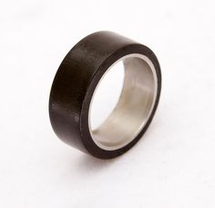 Mens Wedding Band titanium wood ring ebony woden by aboutjewelry, $139.00