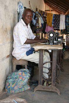 Bissau, Bissau, Guinea - Working with my Singer