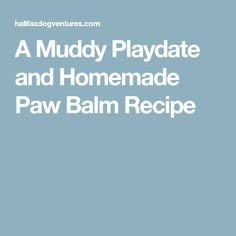A Muddy Playdate and Homemade Paw Balm Recipe