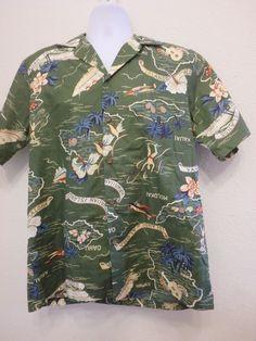 Vintage Green Hilo Hattie Hawaiian Shirt Sz Medium Aloha #HiloHattie #Hawaiian