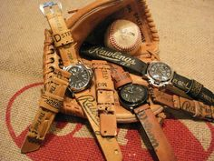 Watchstraps from baseball gloves. Each strap has its own story, all are unique pieces that are cut by hand, glued and stitched. Only old or worn materials are used. Our favorite pieces are in fact the baseball glove- and denim straps