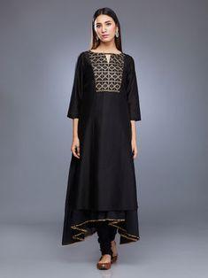 Black Chanderi Silk Embroidered Suit with Mulmul Gota Dupatta - Set of 4