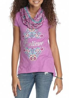 Red Camel Bali Violet Believe Screen Scarf Tee Girls 7-16