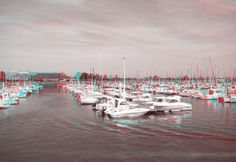 Normandy harbour in 3D. Use red/blue glasses.