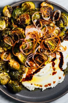 Brussels Sprouts With Pickled Shallots and Labneh Recipe - NYT Cooking