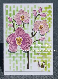 handmade greeting card from papiertier ... orchids ... stamped and die cut .... great bakground evokes a forest setting with only dashes of green .. Stampin' Up!