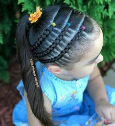 All of these hairstyles are fairly easy and are good for beginners, quick and simple toddler hair styles. Lil Girl Hairstyles, Kids Braided Hairstyles, Princess Hairstyles, Cool Hairstyles, Toddler Girls Hairstyles, Children Hairstyles, Fishtail Hairstyles, Curly Hair Styles, Natural Hair Styles