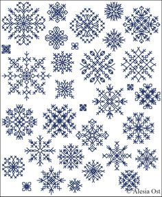 Christmas Blackwork Cross Stitch - Snowflakes                                                                                                                                                     More