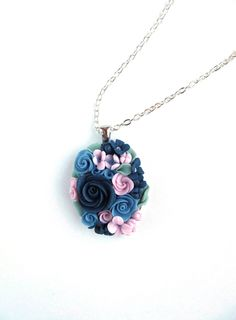 Floral pendant Floral necklace Polymer Clay Jewelry Pendant with Roses  by CLAYANDCHIC on Etsy https://www.etsy.com/listing/231410731/floral-pendant-floral-necklace-polymer