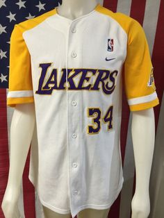 54be321f4 Vintage Nike  NBA Shaquille O neal  Baseball Style Sewn Jersey Lakers Gold  Sick! from  120.0