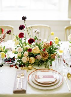 What could be better than a pomegranate and plum color palette for a winter wedding at a historic venue? Nothing! This intimate wedding inspiration features so much eye candy from the vintage-inspired wedding dresses by Claire Pettibone to the Oscar de la Renta dinnerware on the carefully curated table.