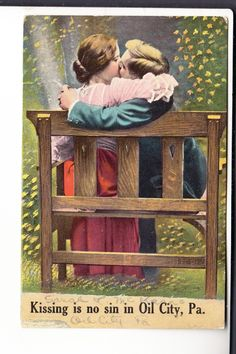 lovers kissing on a bench - mailed 1911 Oil City, Lovers Kiss, Kissing, Bench, History, Painting, Art, Making Out Couple, Art Background