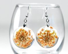 Orange Flower Resin Earrings, Orange Flower Resin Jewelry, Queen Anne's Lace Earrings, Resin Flower Earrings, Orange Resin Flower Jewelry
