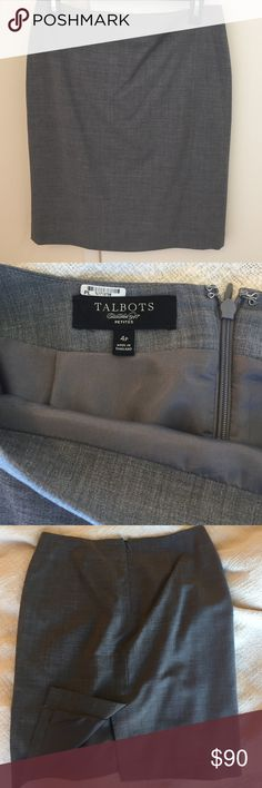 WORK WEAR FLASH SALE! Grey Talbots Pencil skirt Grey Talbots pencil skirt size 4P. Grey lining. First impressions count: look and feel great at your next interview. Zipper and slit in back. Please note I am not removing the dry cleaning sticker near the tag to avoid harming the material. No tags, worn once. Pairs with the grey blazer also in my closet. Talbots Skirts Pencil