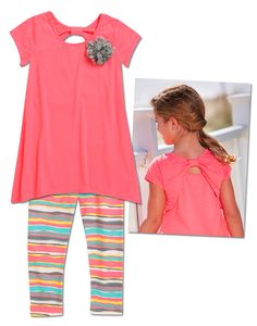 From CWDkids: Flower Top With Back Detail & Sunset Stripe Capris