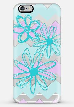 turquoise flowers with chevrons-transparent iPhone 6 Plus case by Sylvia Cook | Casetify  get $10 off using code: 8I2VFF #phonecase #casetify #flowers #transparent #chevron