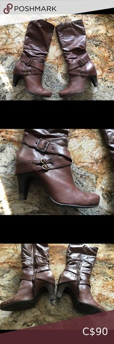 Browns Leather Boots 👢 Brown leather knee high boots. In gently used condition. Heels are 4 inches high. Leather and heel have slight signs of wear (see images). Made in Brazil. Original retail price was $400+tax Comes from a smoke free household. Bundle 2+ items, save 10% and only pay one shipping fee 🥳 Browns Shoes Shoes Winter & Rain Boots Tall Winter Boots, Winter Rain, Brown Leather Boots, Brown Boots, Toddler Hunter Rain Boots, Fly London Boots, Ray Ban Women, Chelsea Rain Boots