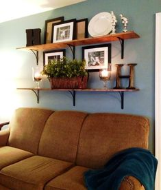 Shelves above couch - bing images. shelves above couch - bing images living room decor Shelves Above Couch, Living Room Shelves, Living Room Wall Decor Ideas Above Couch, Shelf Wall, Shelf Behind Couch, Kitchen Shelves, Kitchen Decor, Cozy Family Rooms, Family Room Decorating