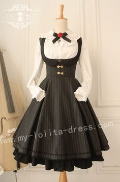 Vintage College School Style Wool Lolita Jumper Dress $65.99-Cotton Lolita Dresses - My Lolita Dress