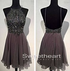 A-line Beaded Backless Short Prom Dresses, Formal Dresses