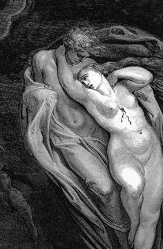"Gustave Doré, ""Paolo and Francesca in the Whirlwind of Lovers"" (detail), from Dante's Inferno, 1861 Gustave Dore, Angel Drawing, Arte Obscura, Goth Art, Arte Horror, Antique Prints, Erotic Art, Dark Art, Art Inspo"