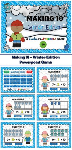 Kindergarten Math - Practice making 10 with this winter themed powerpoint game. Students are given a number in a tens frame and they must figure out what number can be added to it to make 10. These tens frames uses pictures of Snowflakes, Hot Cocoa, and winter mittens.