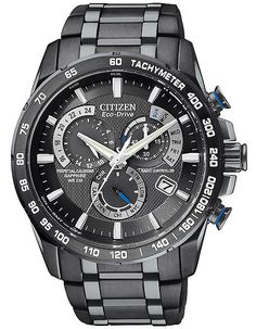 Citizen Mens Perpetual Chrono AT - Black Ion Plated - Black Dial - 5 Time Zones
