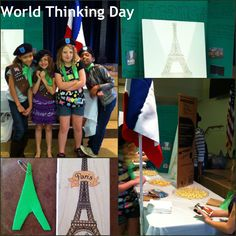 World Thinking Day 2013. Country- France. Pictured: Girls dressed in berets and scarves, one of our parents drew a fabulous Eiffel tower for our center piece, our stamp was the Eiffel tower, our swaps were Eiffel towers made by our girls from foam paper and we served lots of cheese which was easy, cheap and a big hit! Our flag was made by colored felt put together with safety pins. The stand was made from PVC pipe.
