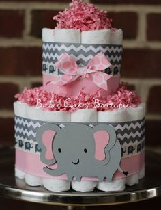 Lovely Mini 2 Tier Elephant Diaper Cake, Pink Gray Elephant Baby Shower, Girl, Baby