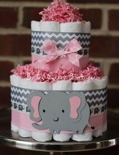 Mini 2 Tier Elephant Diaper Cake, Pink Gray Elephant Baby Shower, Girl, Baby Shower Centerpiece, Pink Grey Chevron Elephant Shower Decor