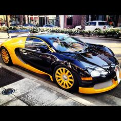Bugatti Veyron - the fastest car that can drive on the road. Available in many exotic colors. I love it!
