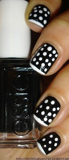 rockabilly, black and white polka dot nails