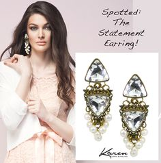 Spotted: The Statement Earring! Pearl, Crystal and Brass Filigree Earrings by Karen McFarlane http://jewellerybykaren.com/bout…/new-designs/earrings-1054e Photo: Mike Lewis Styling: Joanna Plisko Hair & Makeup: Alexandre Deslauriers Model: Ellen Shantz