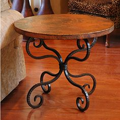 Wrought Iron End Table, LR between chairs to add wrought iron in rm
