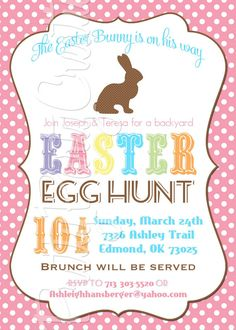 BUNNY SILHOUETTE Easter invitation YOU by PrettyPartyCreations, $11.50 Easter Invitations, Party Invitations, Invitation