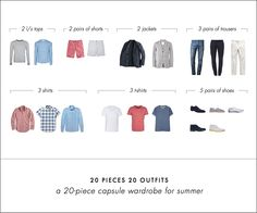 As part of the 20/20 series, I'll be showing you a stand-alone 20-piece wardrobe for men in this post, complete with 20 sample outfits and my reasoning behind it.