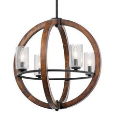 Orb-shaped chandeliers over breakfast tables or in an entry are all the rage; and we're jumping on board.  We particularly love this Grand Bank's auburn stained wood and steel combo.  The wood adds warmth and the metal makes it a bit tough.