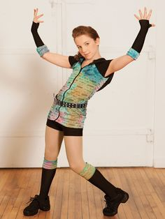 Ref: Black spandex unitard has attached zip-up hooded shirt of tie-dye mesh. Spandex gloves and leggings have matching tie-dye mesh trim. Dance Recital Costumes, Girls Dance Costumes, Ballroom Costumes, Dance Picture Poses, Dance Poses, Photo Poses, Hip Hop Costumes, Cool Costumes, Costume Ideas