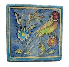 Beautiful antique hand painted Persian tile circa early 1800's.