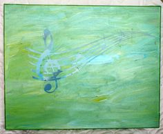 Abstract Music Painting 16x20 Original Canvas by WalkingOnTieDye, $40.00
