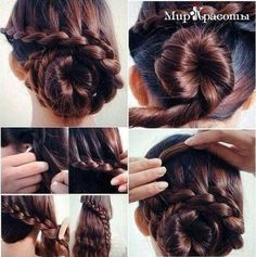 Low Braid Bun - Hairstyles and Beauty Tips Braided Bun Hairstyles, Elegant Hairstyles, Braided Hairstyles, Cool Hairstyles, Style Hairstyle, Updo Hairstyle, Wedding Hairstyles, Natural Hair Styles, Long Hair Styles