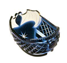 切子藍色船形鉢  薩摩  江戸時代 19世紀