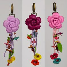 b97c226bd2d2 Leather Flower Keychain Leather Flower Purse Charm Purse Leather Ring
