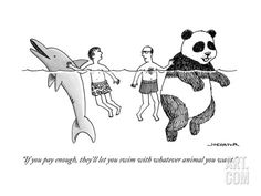 """""""If you pay enough, they'll let you swim with whatever animal you want."""" - New Yorker Cartoon Poster Print by Joe Dator"""