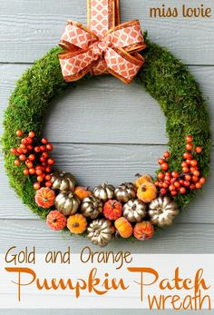 Gold and Orange Pumpkin Patch Wreath. So perfectly fall! From missloviecreations.blogspot.com.