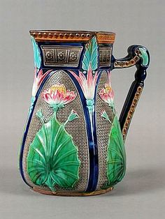 Glazed and Confused: Majolica Spotlight: The Copeland Lotus Pitcher Glazes For Pottery, Delft, Vases Decor, Warm Colors, Earthenware, A Table, Lotus, Tea Pots, Porcelain