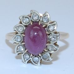 Vintage Estate 14K Yellow Gold Ruby Cabochon & Diamond Ring Size 6 Circa 1930's on Etsy, $639.00