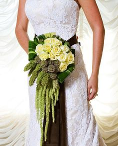 Love this cascade bouquet with hanging amaranthus and ti leaves modern bouquet   ♥
